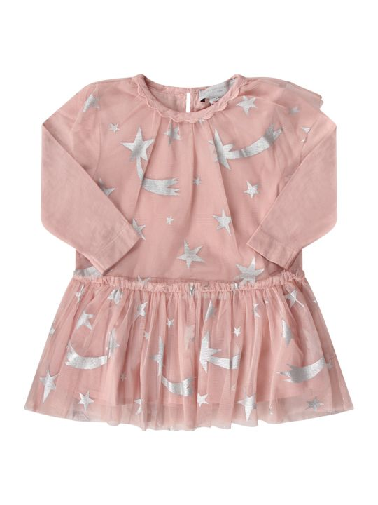 Stella McCartney Kids Pink Babygirl Dress With Silver Stars