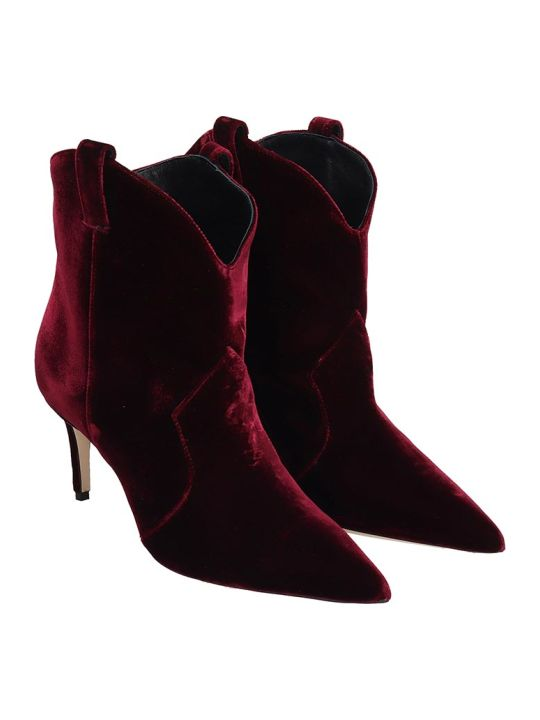 Dei Mille High Heels Ankle Boots In Bordeaux Velvet