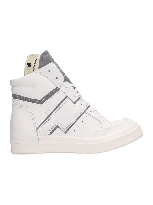 Cinzia Araia White Leather High-top Sneakers