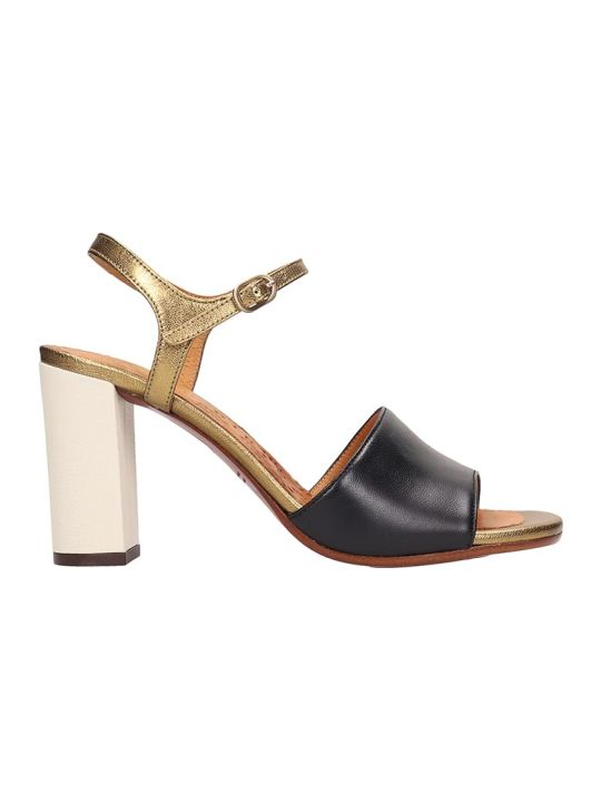 Chie Mihara Black Gold Leather Sandals