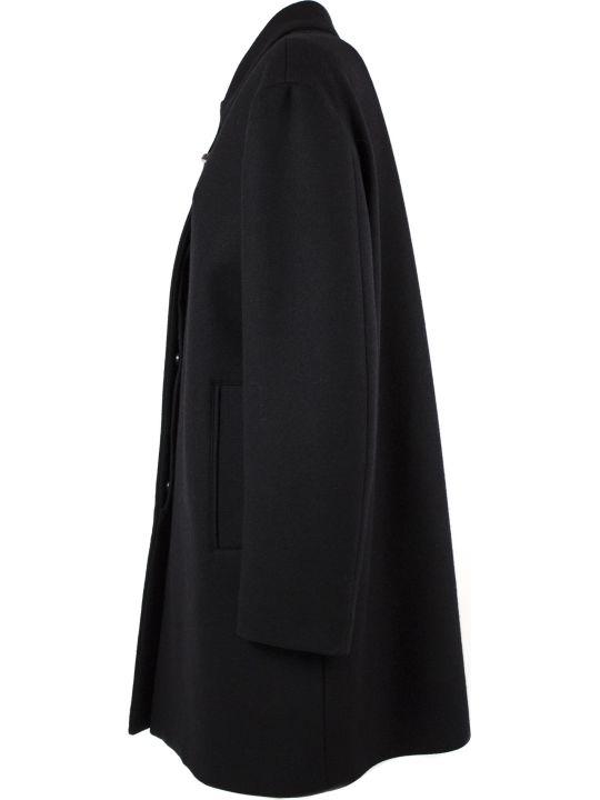 Fay Black Wool Blend Coat
