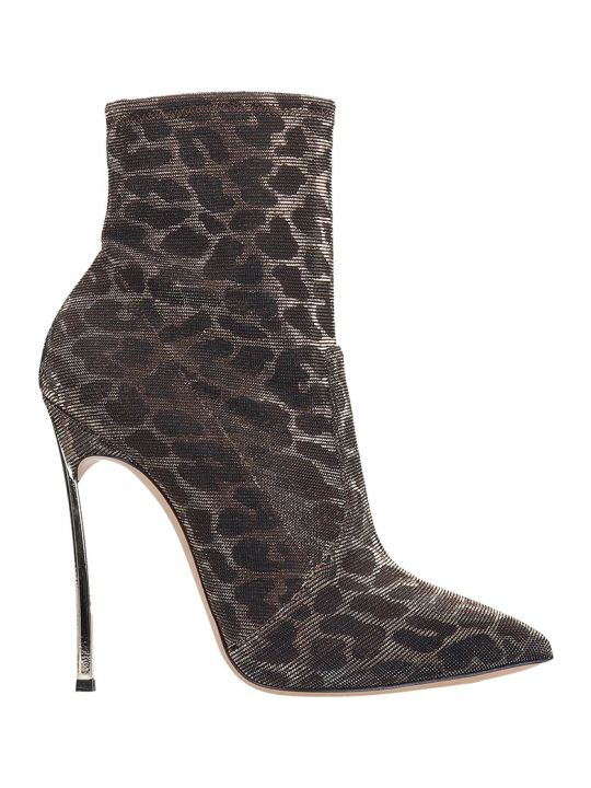 Casadei Blade Leo Metal Ankle Boots In Animalier Tech/synthetic