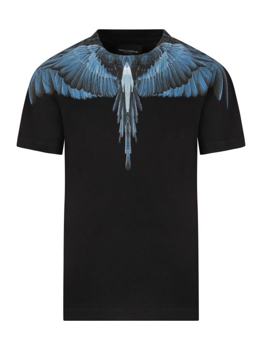 Marcelo Burlon Black Boy T-shirt With Light Blue Iconic Wings