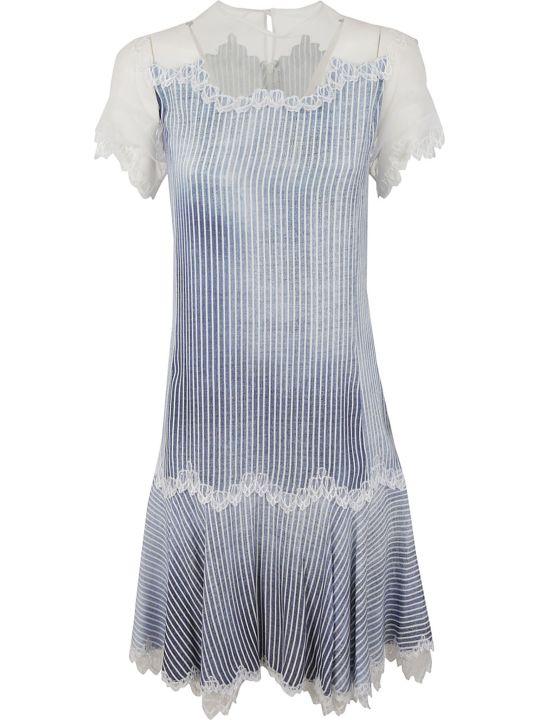 Ermanno Scervino Lace Detail Striped Dress