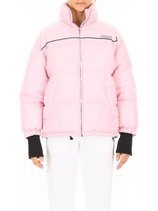 Prada Linea Rossa Puffer Jacket With Logo Patch