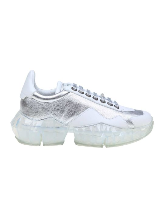 Jimmy Choo Diamond / F Sneakers In Silver Laminated Leather