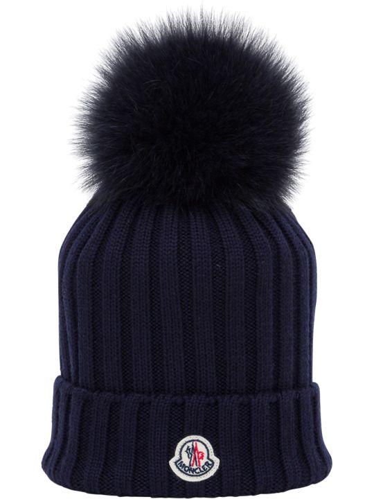 Moncler Cappello Con Logo Tondo E Ponpon