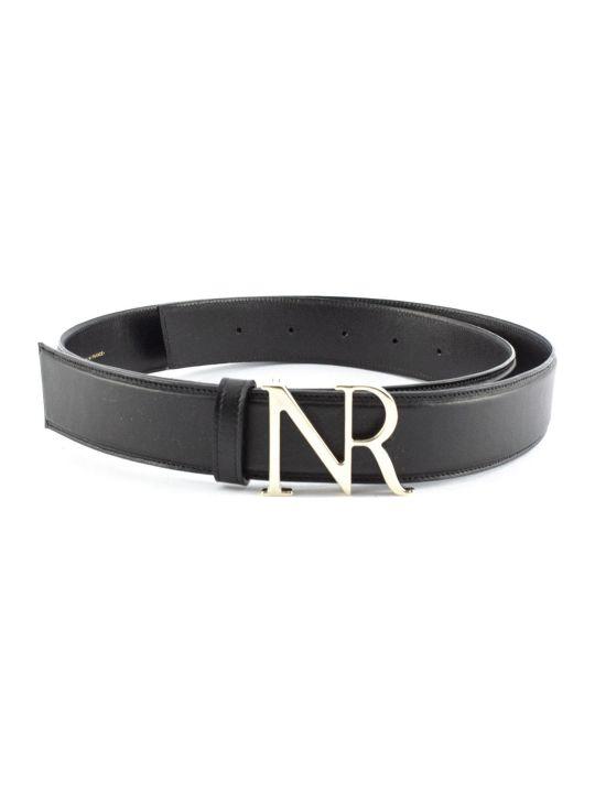 Nina Ricci Black Goat Skin Monogram Buckle Belt.