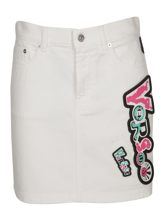 Versus Versace Logo Denim Skirt