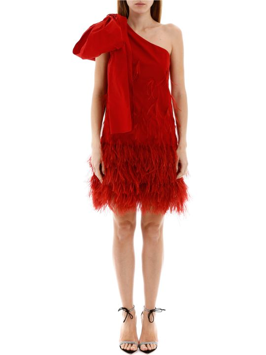 N.21 One-shoulder Dress With Feathers