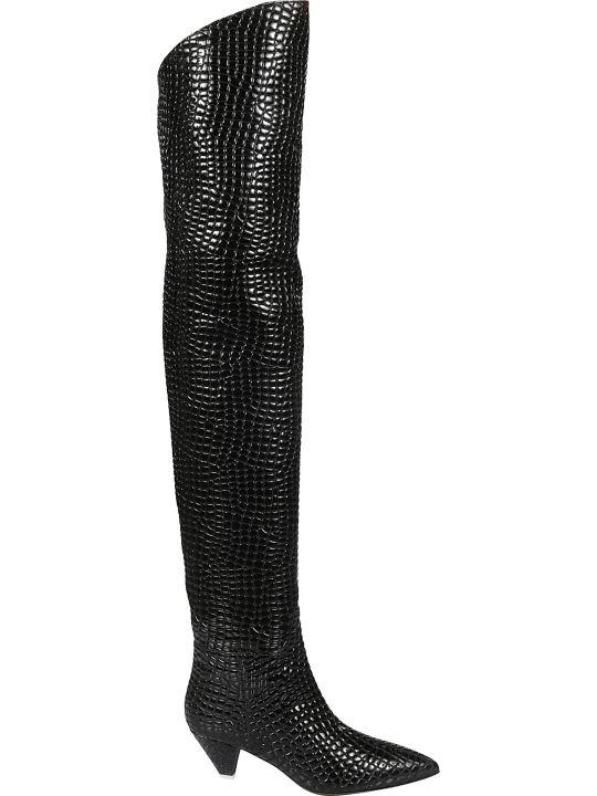 ATTICO Crocodile Skinned Over-the-knee Boots