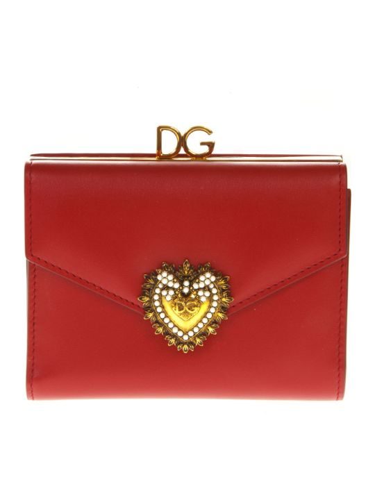 Dolce & Gabbana Devotion Wallet In Red Leather