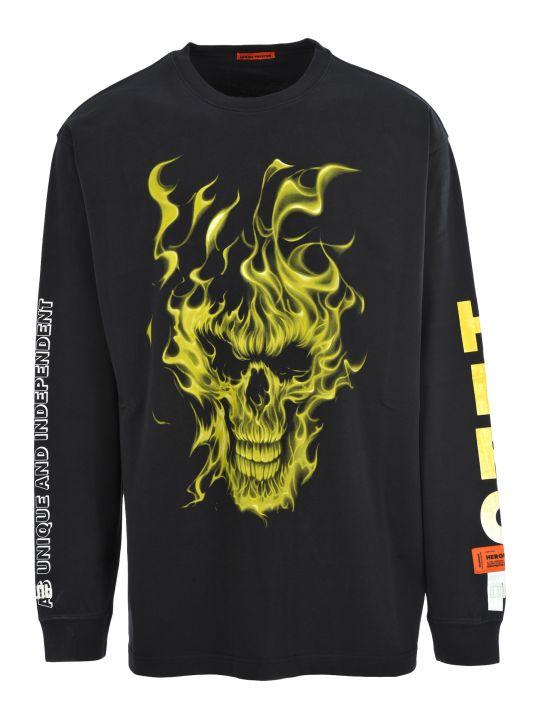 HERON PRESTON Fire Skull Oversize T-shirt
