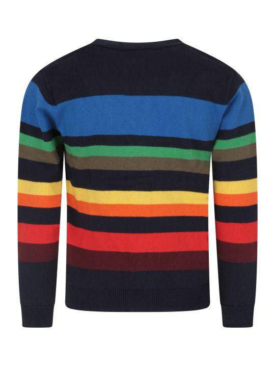 Paul Smith Junior Blue Boy Cardigan With Stripes
