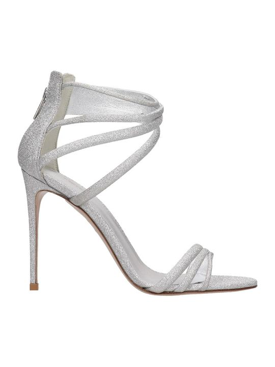 Le Silla Sandals In Silver Glitter