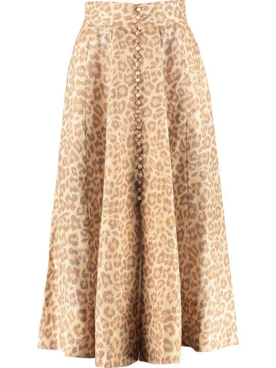 Zimmermann Kirra Printed Midi Skirt