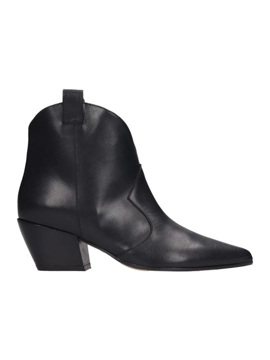 Dei Mille Texan Ankle Boots In Black Leather