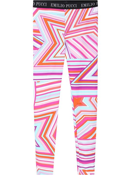 Emilio Pucci Colorful Girl Leggings With White Logo