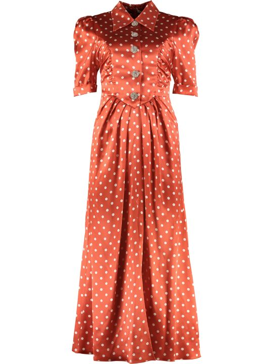 Alessandra Rich Polka Dot Print Long Dress