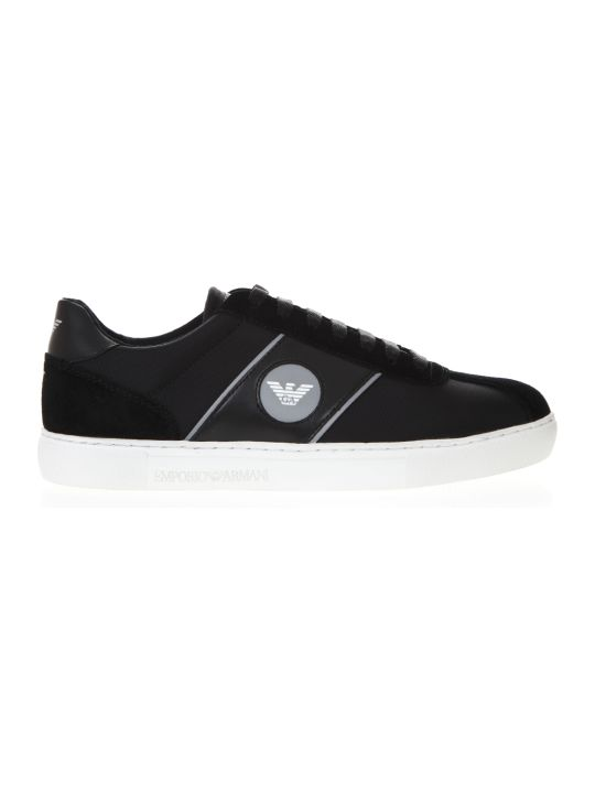 Emporio Armani Black Black & Suede Sneakers With Logo