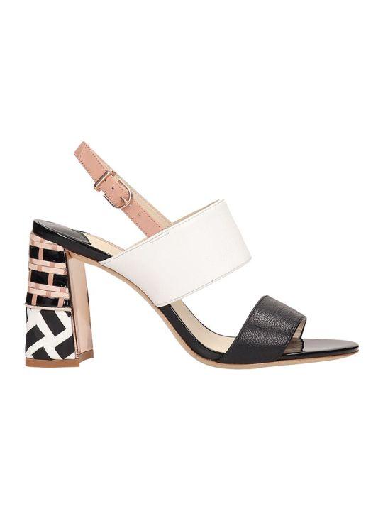 Sophia Webster Celia Black White Leather  Sandals