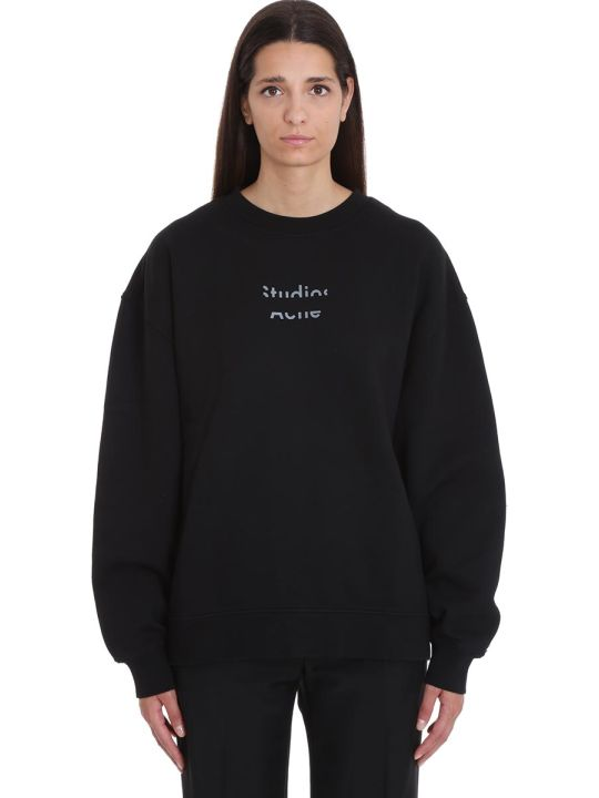 Acne Studios Fyona Logo Sweatshirt In Black Cotton