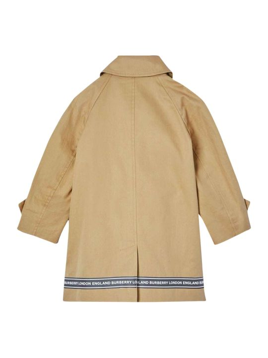 Burberry Light Brown Trench With Logo Details