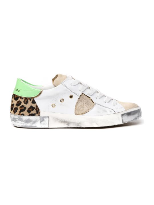 Philippe Model White Leather Sneakers With Ponyskin Insert