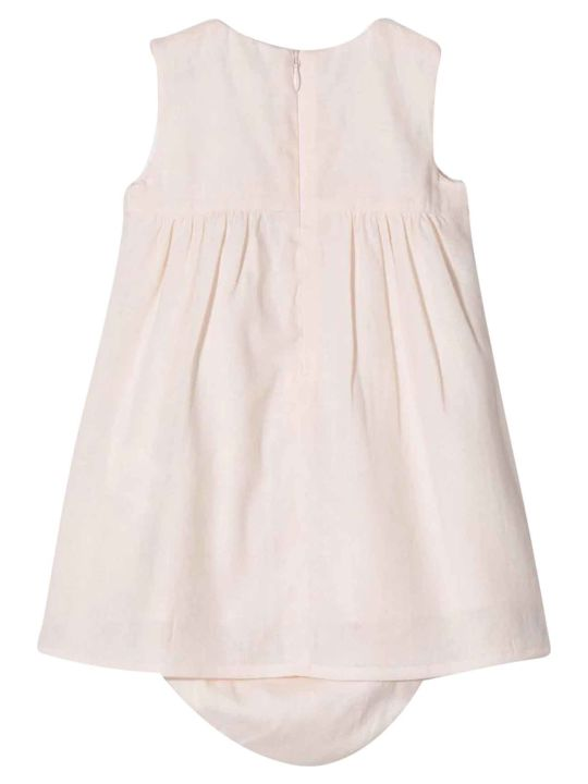 Chloé Pink Baby Dress With Embroidery Chloé Kids