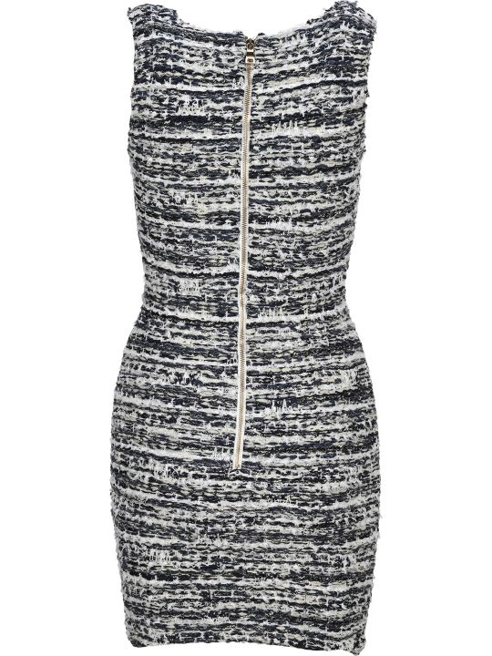 Balmain Bouclé Button Detail Dress