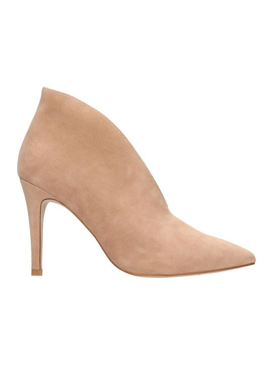 Jeffrey Campbell Electron High Heels Ankle Boots In Rose-pink Suede