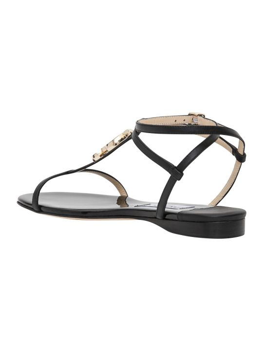 Jimmy Choo Alodie Flat Nappa Thong Sandals With Jc