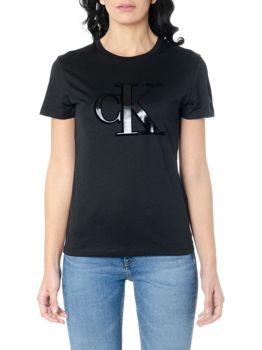 Calvin Klein Black Cotton Ck Logo T-shirt