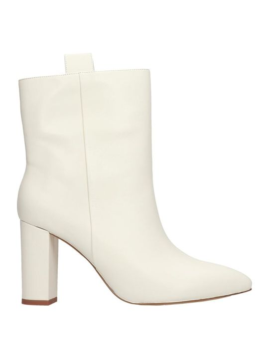 Bibi Lou High Heels Ankle Boots In White Leather