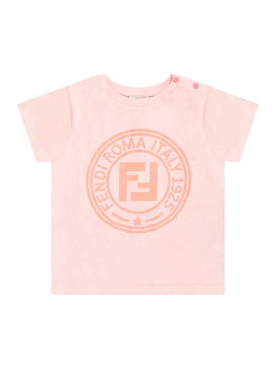 Fendi Pink Babygirl T-shirt With Neon Pink Double Ff