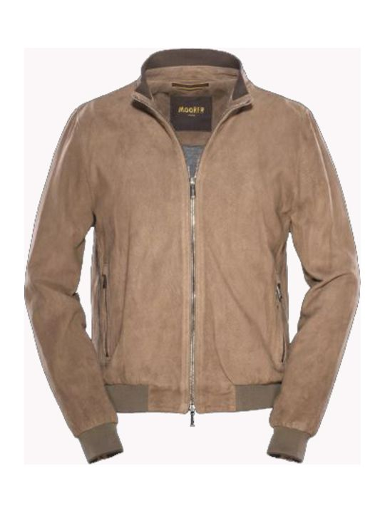 Moorer camel colored bomber Made of suede and perforated lamb