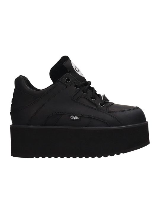 Buffalo Black Leather Classic Tower Sneakers