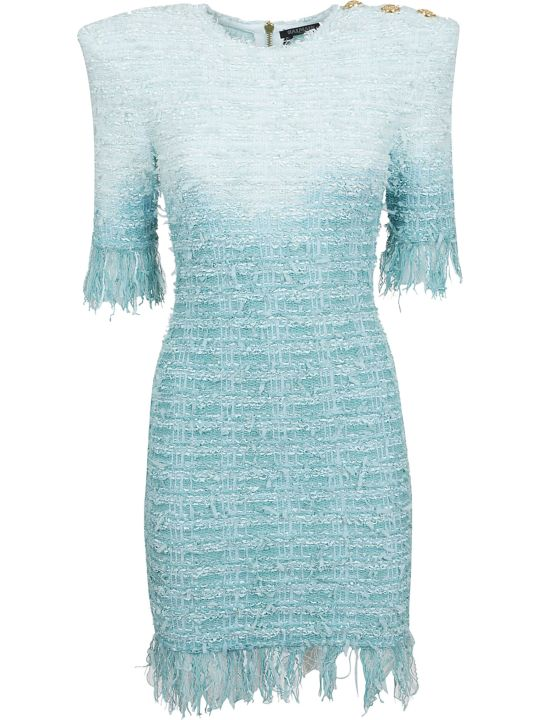 Balmain Short Fringed Tweed Dress
