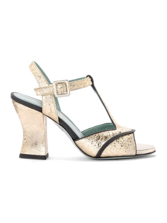 Paola D'Arcano Amalia Platinum Craqueled Leather Heeled Sandal