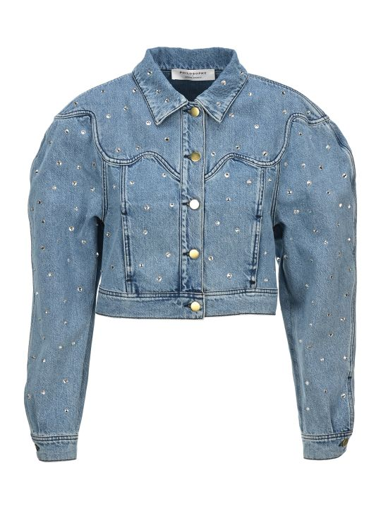 Philosophy di Lorenzo Serafini Philosophy Rhinestone Embellished Denim Jacket