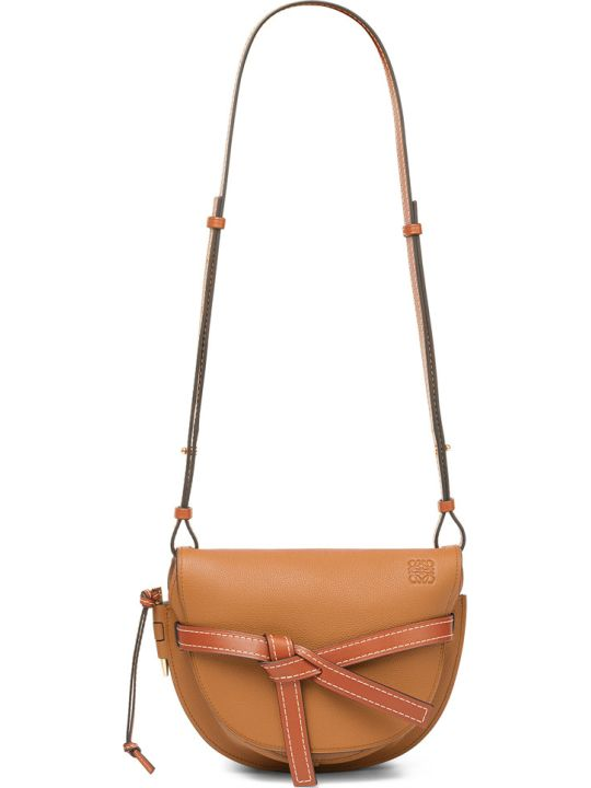 Loewe Gate Small Bag With Removable Strap, Ribbon Leather Lock With Central Knot