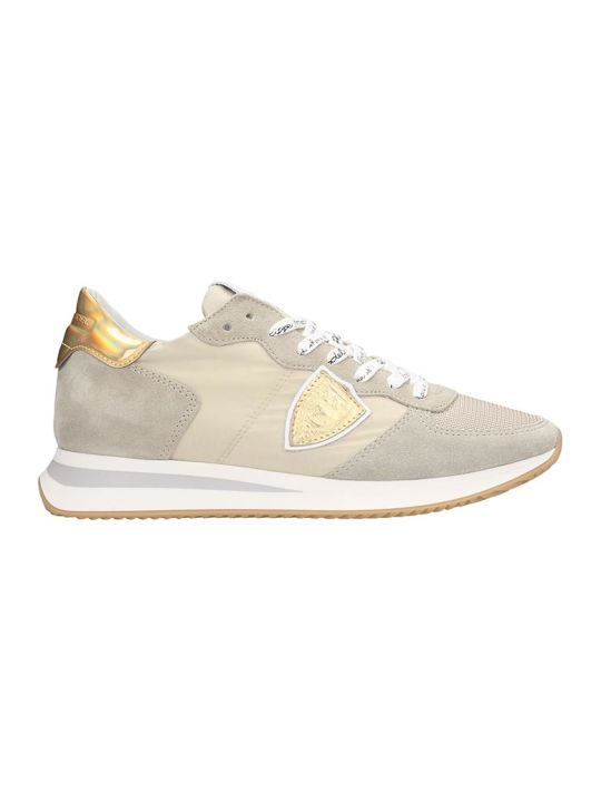 Philippe Model Trpx L Sneakers In Beige Suede And Fabric