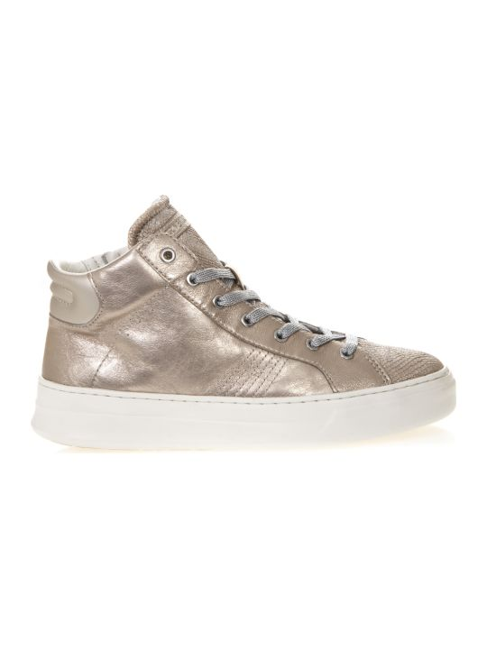 Crime london High Nude Sneakers In Metallic Leather