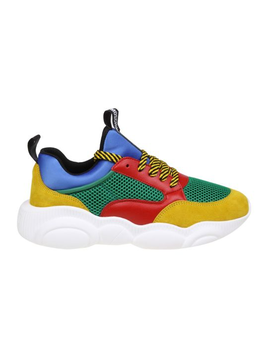 Moschino Teddy Sneakers In Fabric And Multicolor Leather