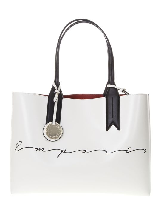 Emporio Armani Shopper Bag In White Faux Leather With Charm Logo