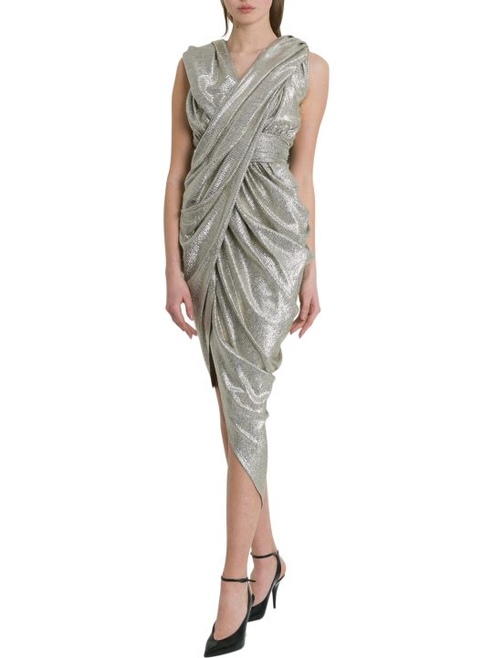 Balmain Hooded Laminated Draped Dress