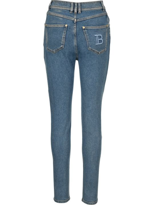 Balmain Slim Fit High Waist Jeans With B Monogram