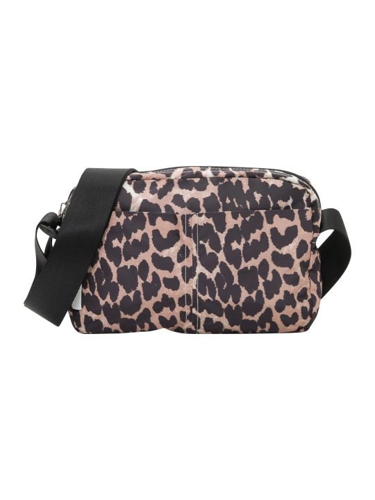 Ganni Fairmont Crossbody Bag In Leopard Print