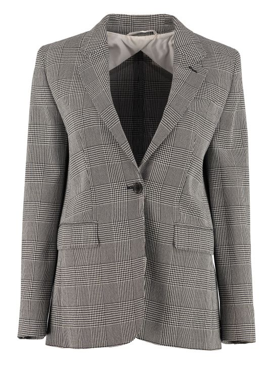 Max Mara Olana Houndstooth Single Breast Blazer