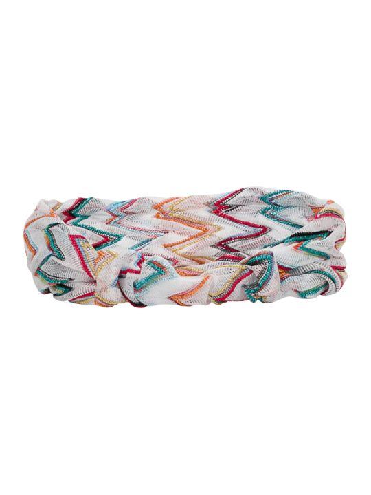 Missoni Ziig Zag Multi White Base Hairband